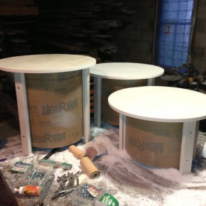 Corian Table Tops and legs with Sonotube Base.